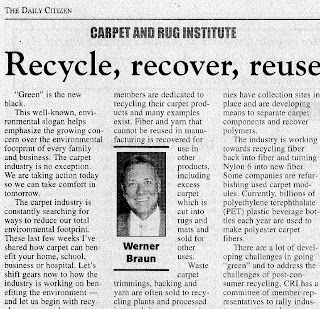 Recycle, recover, reuse by Carpet and Rug Institute's Werner Braun