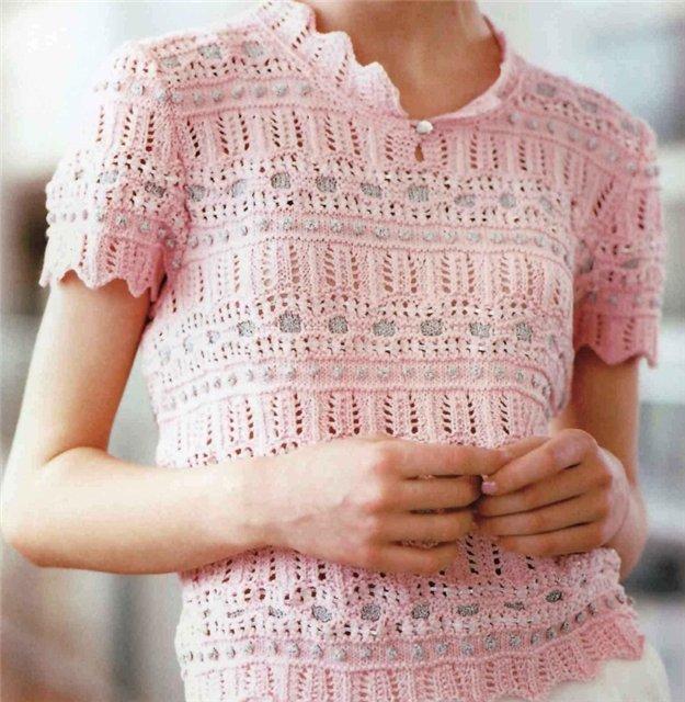 Японский ажур : пуловер с короткими рукавами.