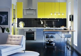 blue yellow kitchen