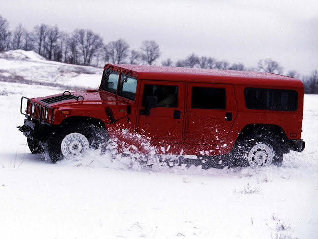 Red Hummer H1 Snow Road Desktop Wallpapers