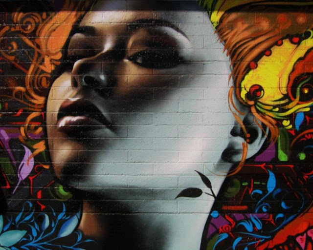 Graffiti girl hair, urban art wallpaper