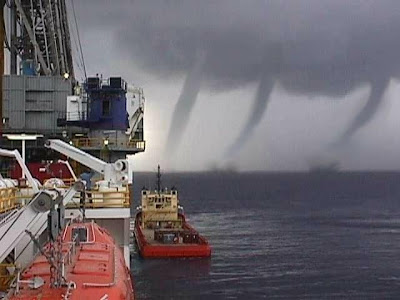 Triple tornado waterspouts