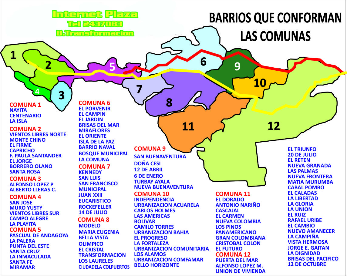 Valle colombia cauca de buenaventura plano del Mapa MICHELIN