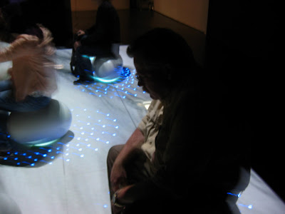 Patrons sit on the white balls and observe the light and shadow of tree branch images playing over them, titled Light Spheres II