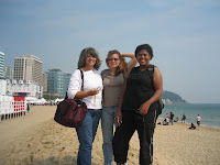 Three lovely ladies at Haeundae Beach