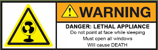 Fan Death Warning Sticker