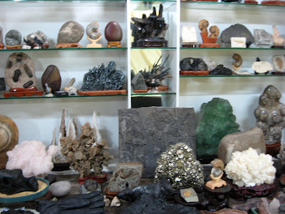 stones and fossils at stall in Seoul Folk Flea Market