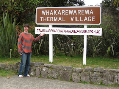 Andy at sign with Whakarewarewa full name