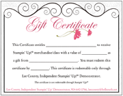 NEW! Stampin' Up! Gift Certificates