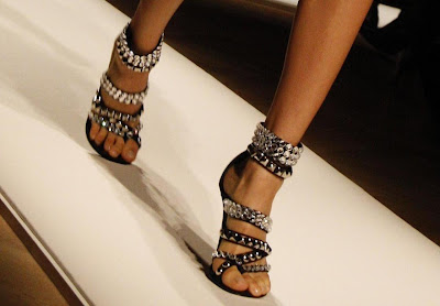 Black ankle strap bling stilleto heels