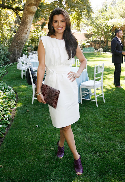 Ali Landry Wearing Perfect Purple Open Toe Slingbacks