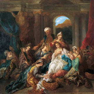 anonymous oil on canvas painting of harem