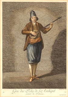engraving of a greek musician