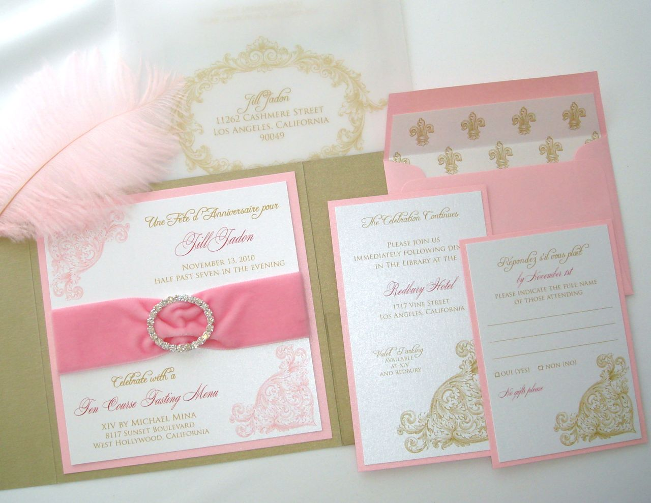 She wanted something special for her Birthday and was inspired by Marie Antoinette, Pink, Gold, Creme, White, Fuchsia… Makes for a Lovely color combination.