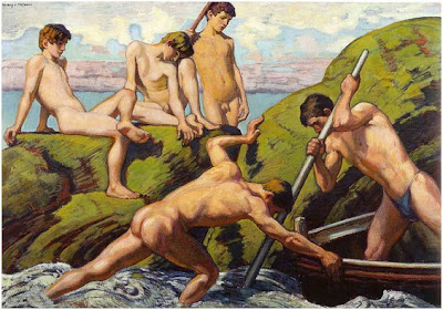 Ludwig+von+Hofmann+-+Naked+Boatmen+and+Y