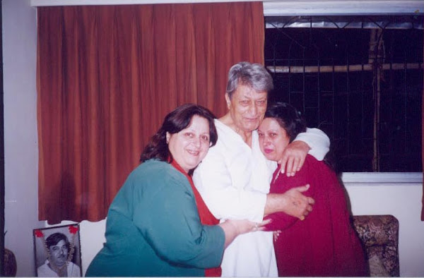 With his two daughters - Meena and Madhu