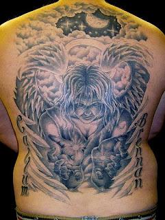 Full Back Piece Angel Tattoo Design