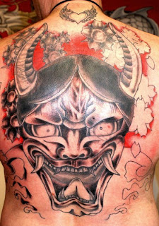 Asian Hanna Mask Full back tattoo Design