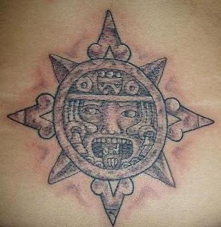 Aztec Sun Symbol Tattoo