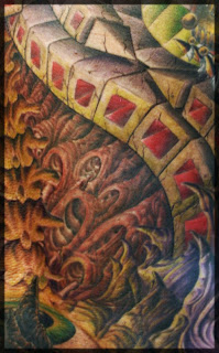 Close-up of the Amazing Detail on Biomechanical Tattoo Design