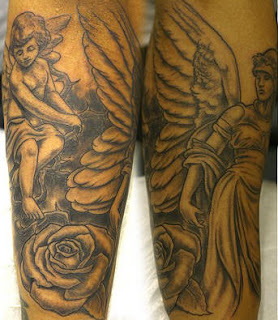 Cherub Angle Tattoo Design - Black and Grey Ink Tattoos