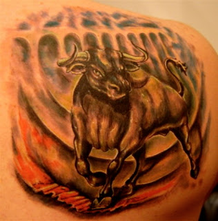 Full Color Bull Tattoo on Back