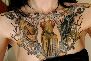 Insects Tattoo of Praying mantis Grasshopper and Beetle