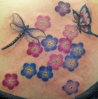 Dragonfly, Flowersand Butterfly Tattoo Design