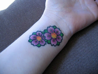 Cherry Blossom Wrist Tattoo