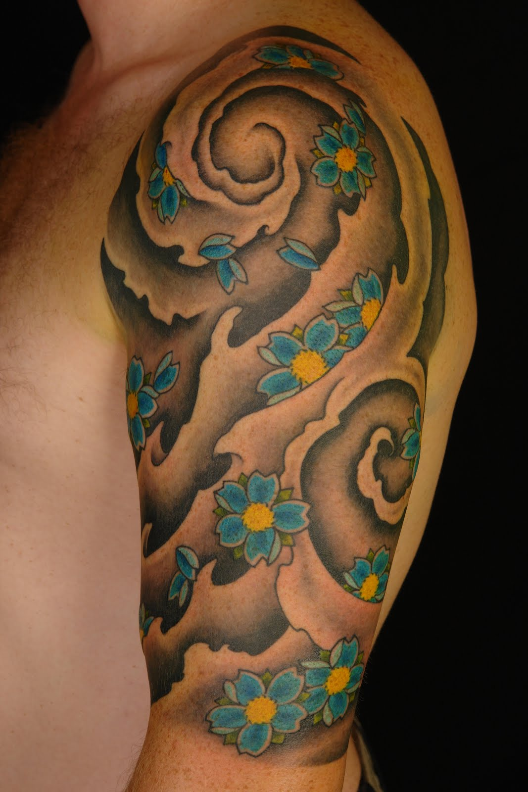 Shane tattoos japanese style cherry blossom half sleeve for Oriental tattoo