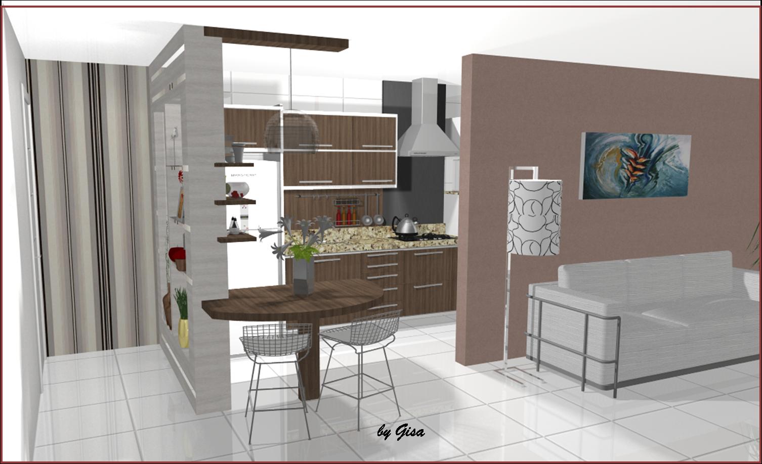 Projeto Feito Sonho Realizado: Cozinha Pequena integrada com a Sala #4E5F30 1506 918