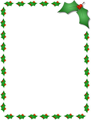 Christmas holly borders for Free christmas border templates