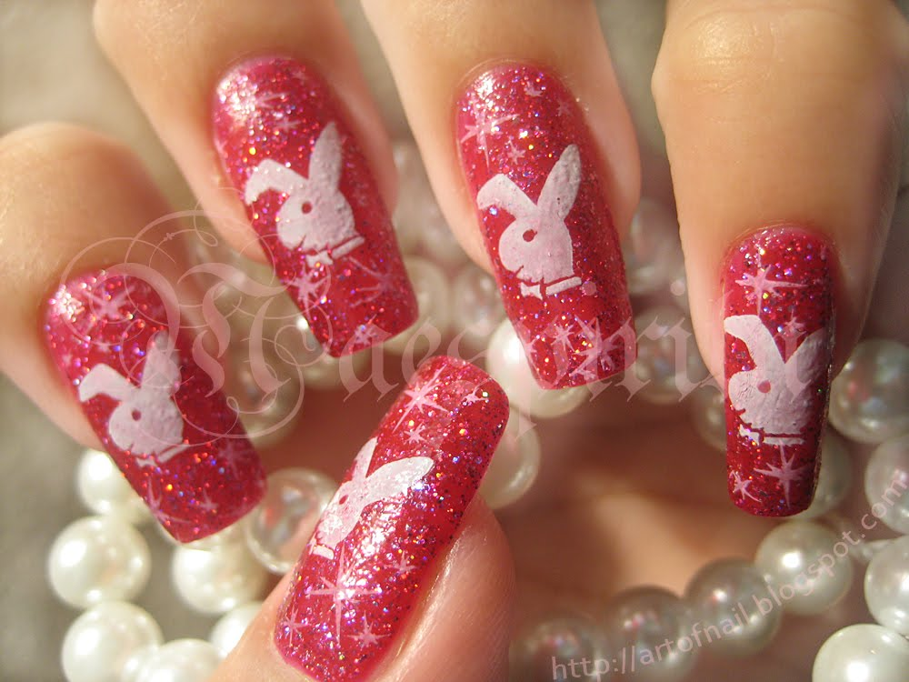 Beautiful nail art playboy bunny prinsesfo Image collections