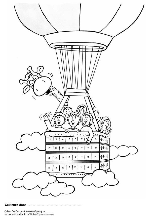 Imagenes para colorear: Jirafa en un globo de aire con sus amigos
