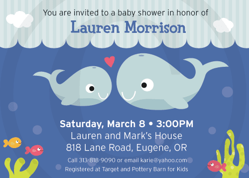 property of kelly whale baby shower invitation