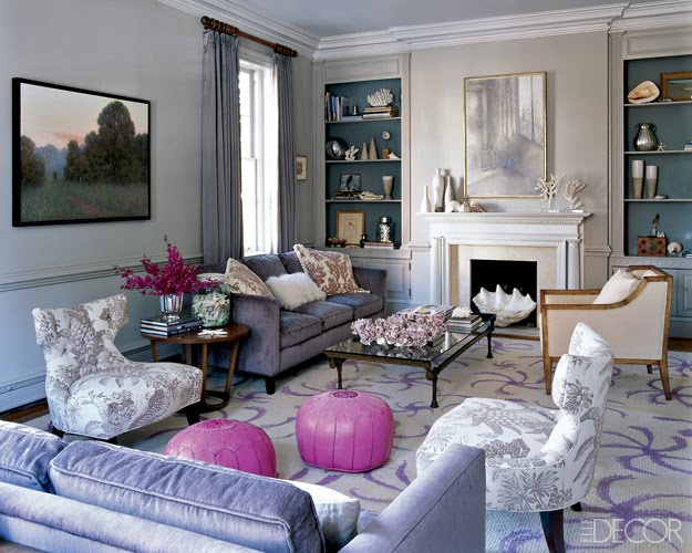 The blue house the giant clam shell Gray and lavender living room