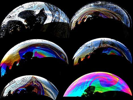 Different patterns of soap bubbles
