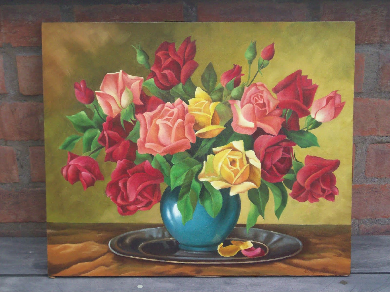 Pinturas de gladys cuadro al oleo de rosas for Cuadros infantiles al oleo