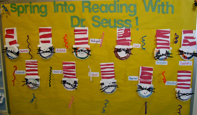 photo of: Dr. Seuss Bulletin Board for Preschool, Cat in the Hat Art Project