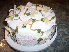 Cake with gumpaste dogwood flowers