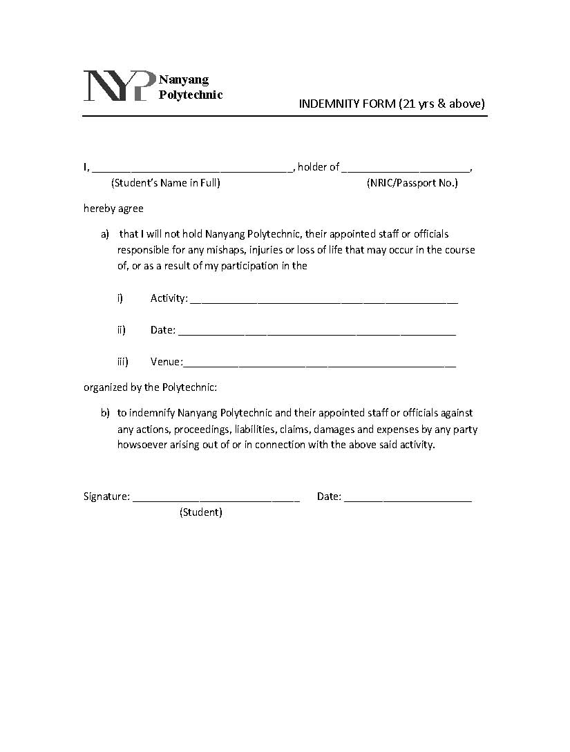 NYP TKD: Indemnity form