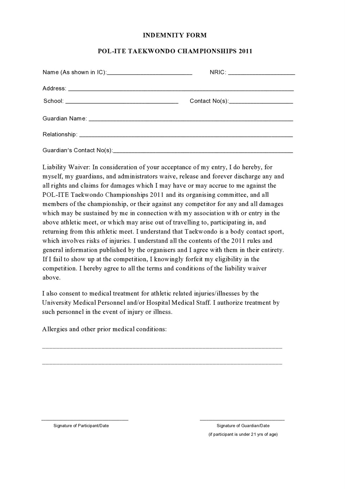 indemnity form template - 28 images - deed of indemnity form free ...