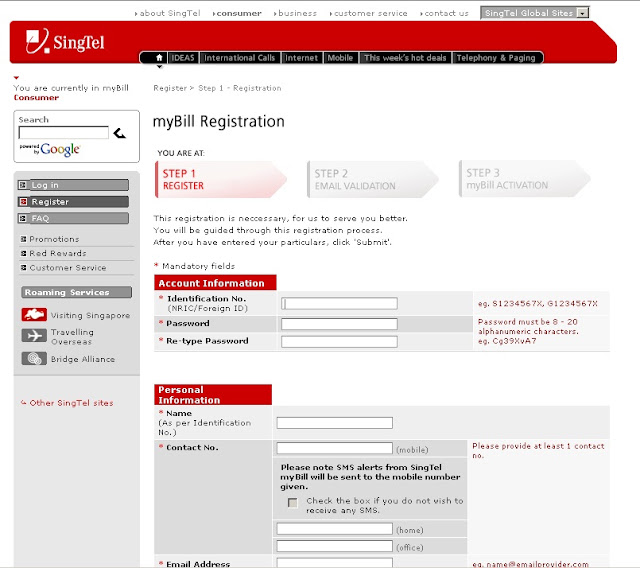 How to Pay Singtell Bill online at Singtel MyBill Website?