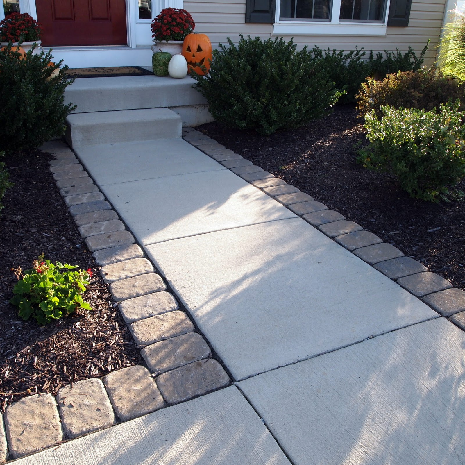 Loveyourroom make your outdoor entry eye candy in one day - Sidewalk pavers ideas ...