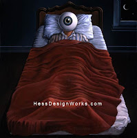 Insomnia with Big Eyes on Bed