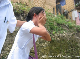 Nursing student crying after she slipped