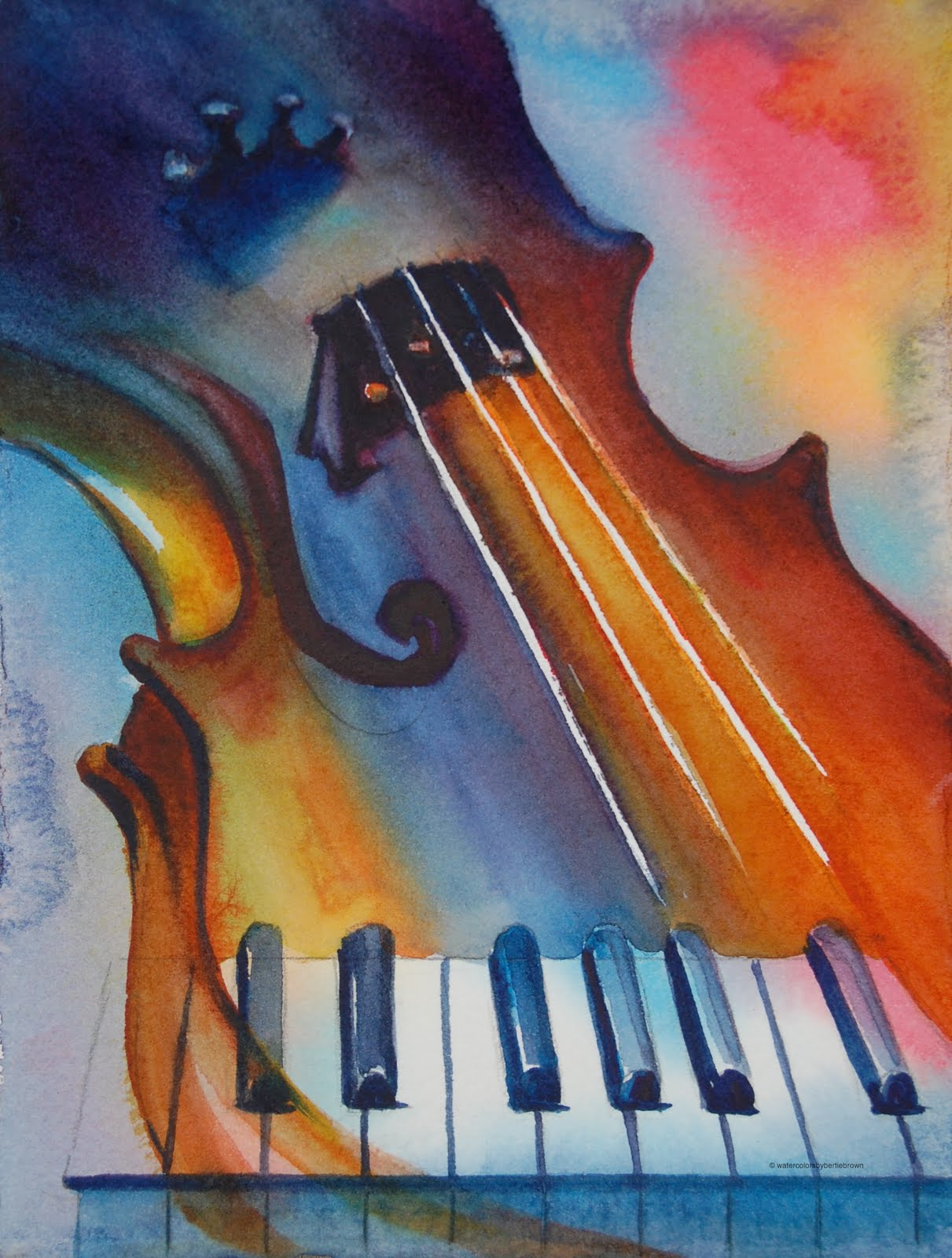 Musically Inclined Violin Piano Musical Motif Watercolor By Pennsylvania Daily Painter Bertie Brown Art Is Instrumental