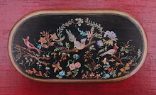 Millefiori decoration on a lacquered table