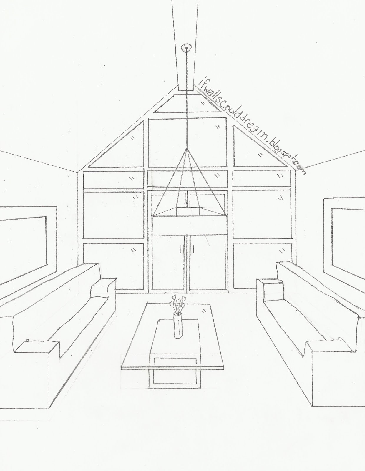 Kitchen perspective drawing - Image