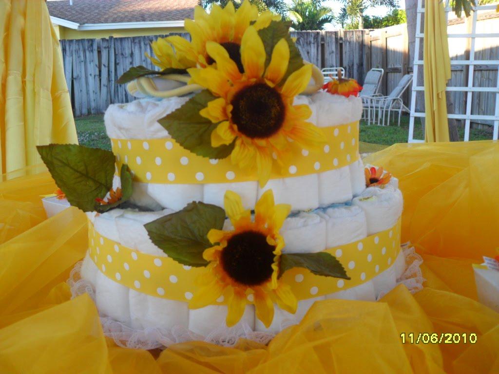 diaper cakes baby shower sunflower diaper cake